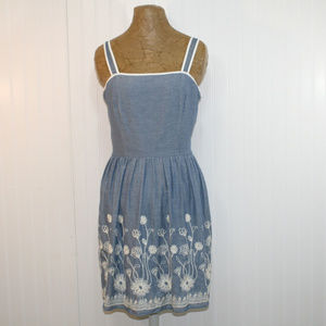 NWT Buttons Francesca's Chambray Embroidered Dress
